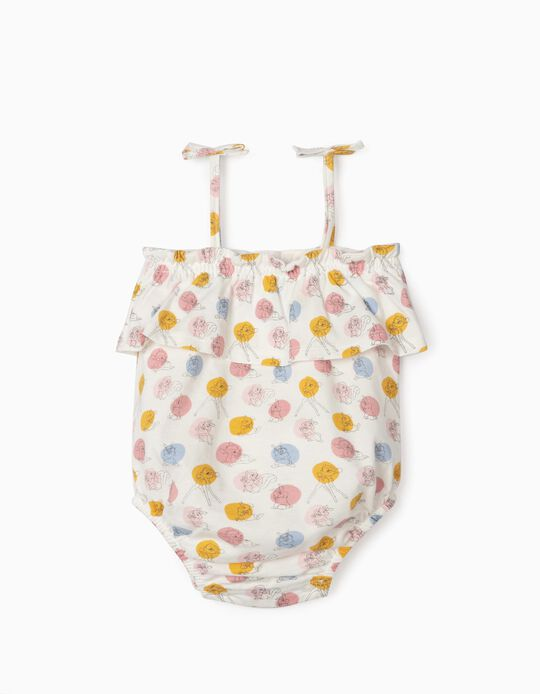 Strappy Bodysuit for Newborn Baby Girls, 'Bambi', White