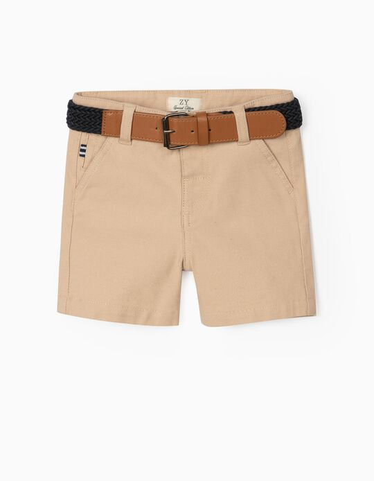 Dobby Shorts with Belt for Baby Boys, Beige