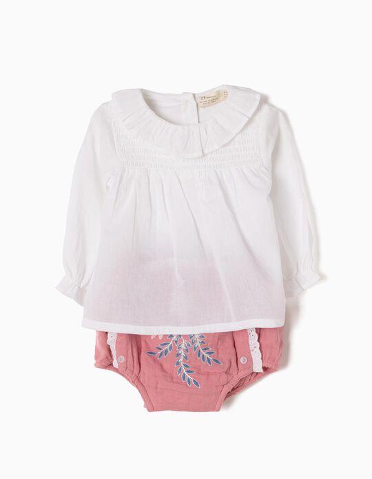 Conjunto Body-Blusa y Cubrepañal Flores