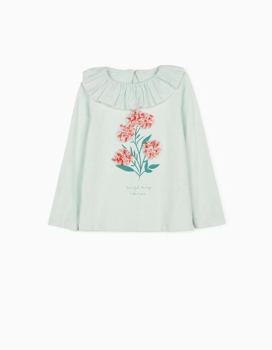 T-shirt manches longues fille 'Flowers', vert d'eau