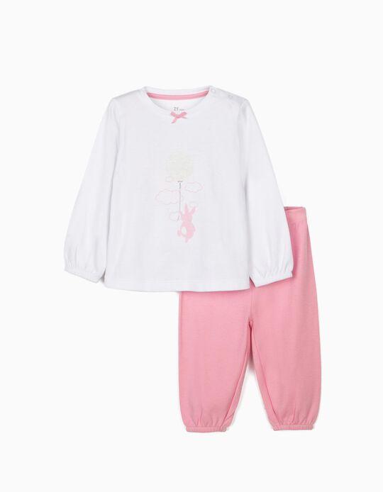 Pijama para Bebé Menina 'Cute Bunny', Branco/Rosa