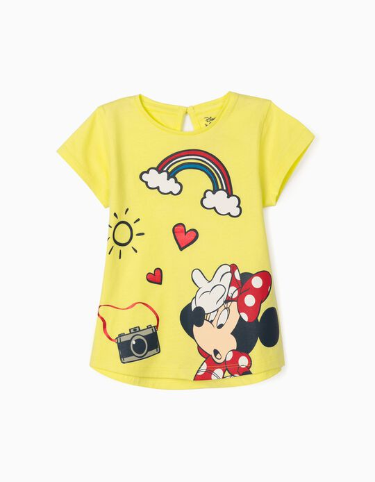 T-Shirt for Baby Girls, 'Minnie Mouse', Lime Yellow