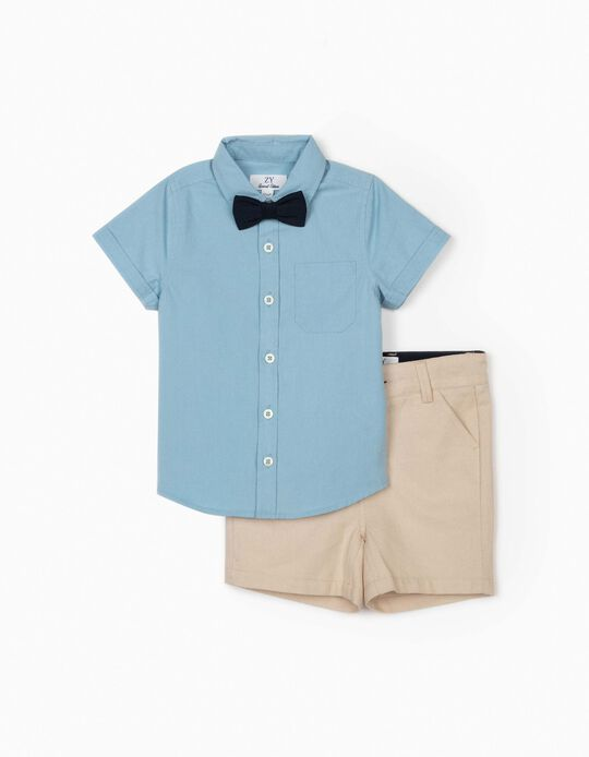 Shirt with Bow Tie and Shorts for Baby Boys, Blue/Beige