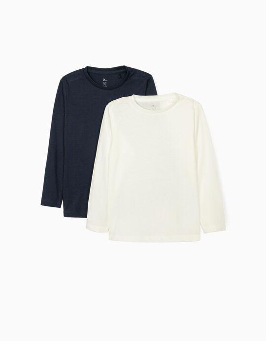 2 T-shirts manches longues fille, bleu foncé/blanc