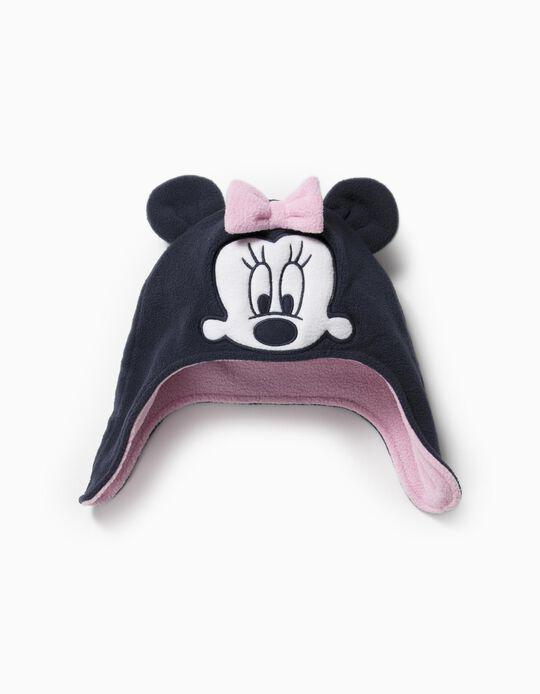 Gorro Polar com Tapa-Orelhas para Bebé Menina 'Minnie', Azul Escuro