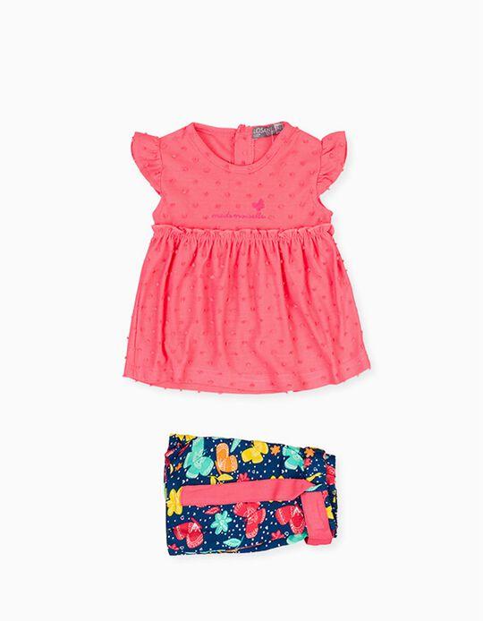 T-shirt e Calções para Bebé Menina LOSAN, Rosa/Azul