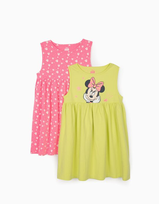 2 robes Jersey fille 'Minnie Mouse', rose/jaune citron