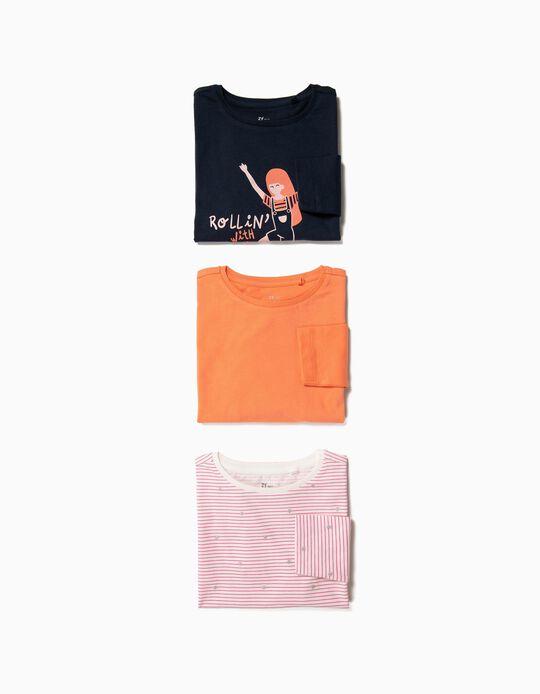 3 T-shirts Manga Comprida para Menina 'Rollin', Multicolor