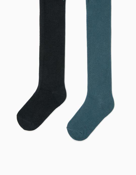 2 Collants en maille fille, vert/bleu foncé