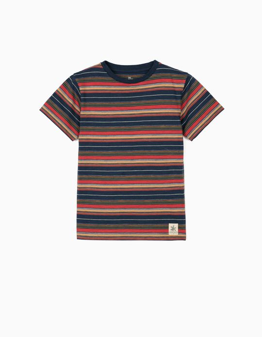 T-shirt rayé garçon, bleu foncé