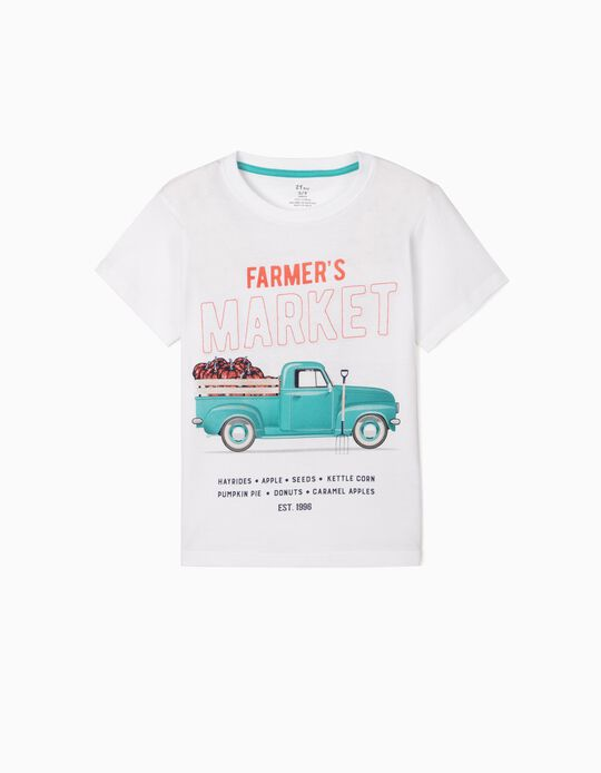 T-shirt for Boys, 'Farmer's Market', White