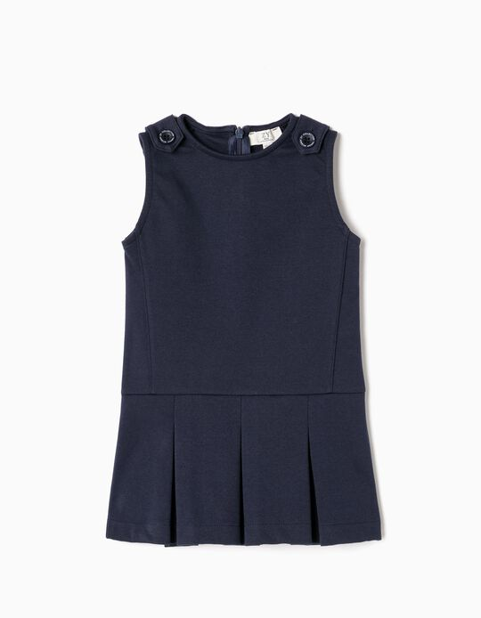 Vestido para Bebé Menina, Azul Escuro