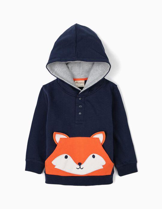 Sudadera con Capucha para Bebé Niño 'Fox', Azul Oscuro