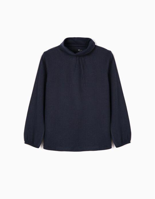Camiseta de Manga Larga para Niña con Cuello Alto, Azul Oscuro