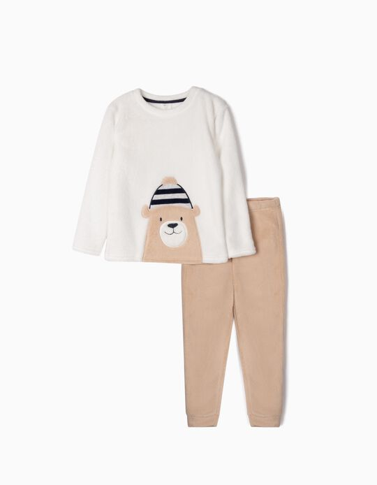 Pijama de Coralina para Niño 'Cute Bear', Blanco/Beige