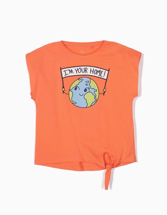 T-shirt for Girls 'Home' with Front Knot, Orange