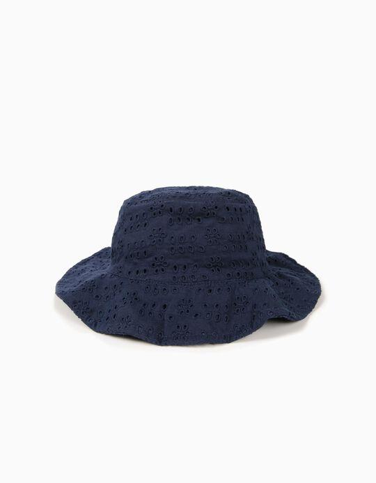 Chapéu para Menina com Bordado Inglês, Azul Escuro