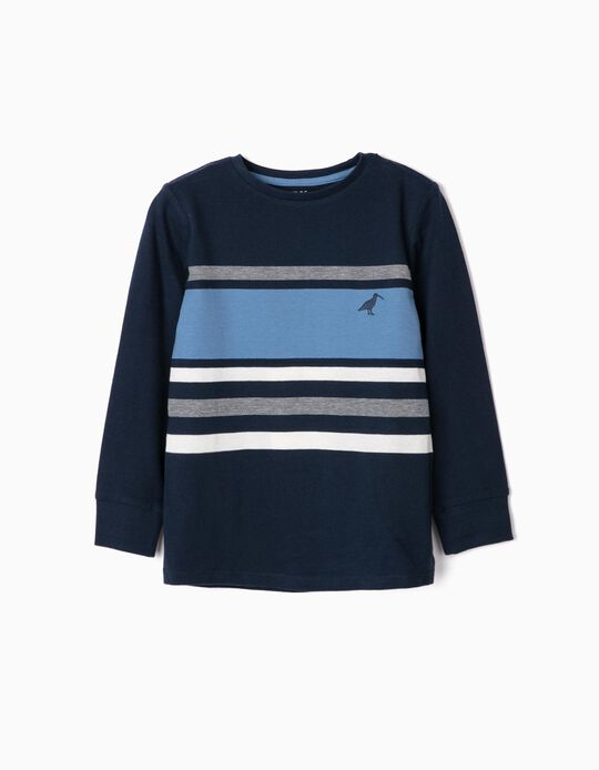 Camiseta de Manga Larga de Punto Piqué para Niño, Azul/Blanco