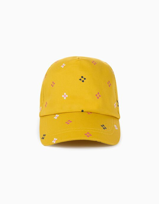 Cap for Girls, 'Flowers', Yellow