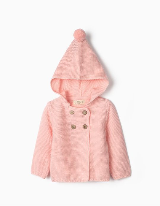 Hooded Knit Jacket for Newborn, Pink