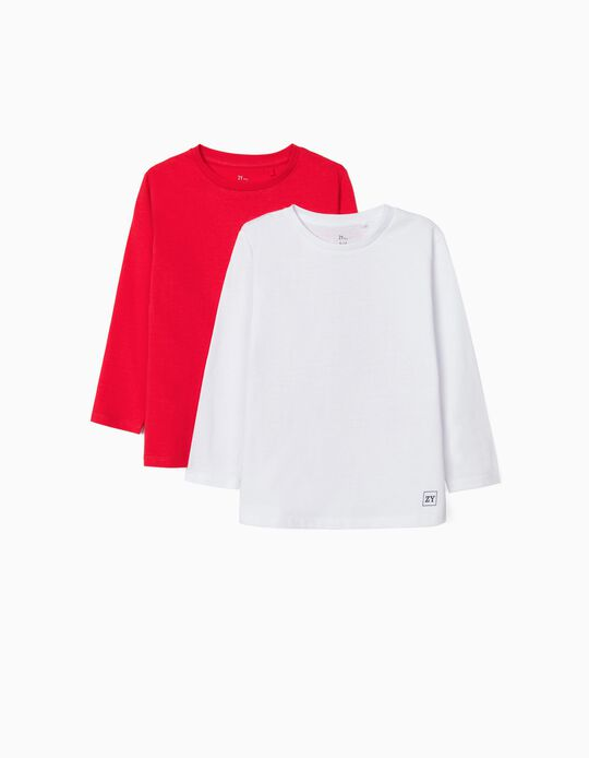 2 Long Sleeve Tops for Boys, White/Red