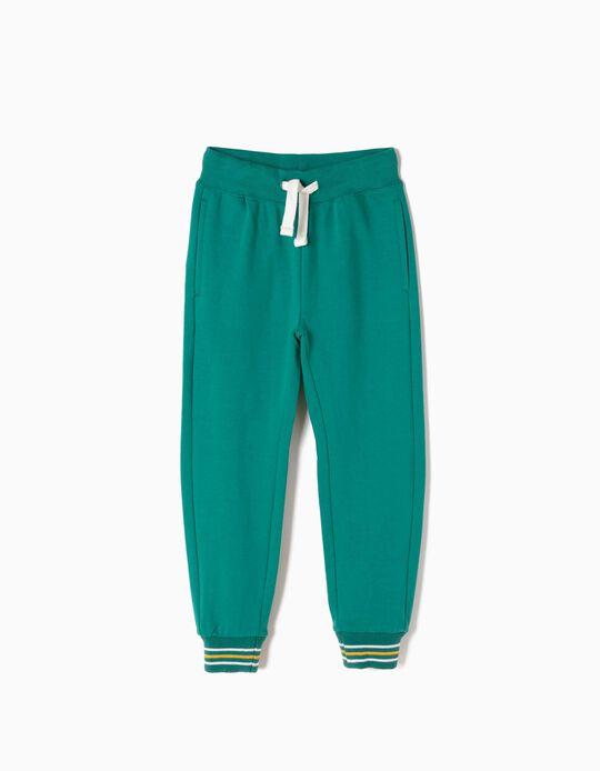 Pantalón de Chándal Verde con Bajos a Rayas