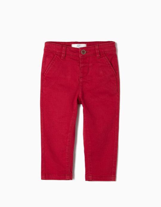Pantalón Chino para Bebé Niño, Rojo