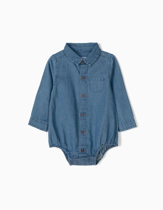 Body Camisa Vaquero para Recién Nacido, Azul Claro