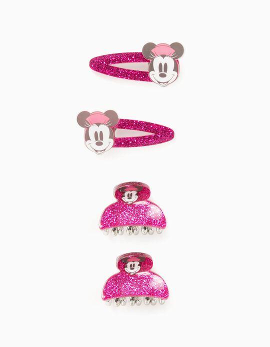 2 Horquillas + 2 Pinzas para Niña 'Minnie', Rosa