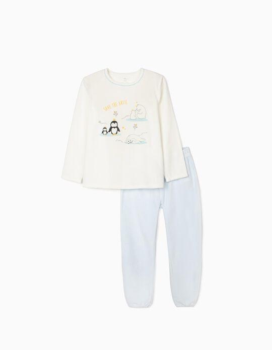 Pijama Terciopelo para Niña 'Save The Artic', Blanco/Azul