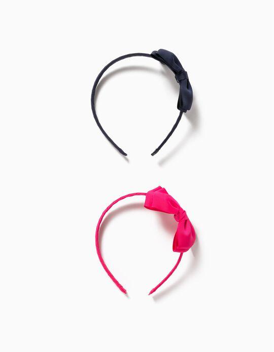 2 serre-tête avec nœud fille, bleu foncé/rose