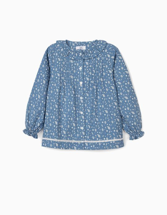 Blusa de Flores para Niña, Azul/Blanca