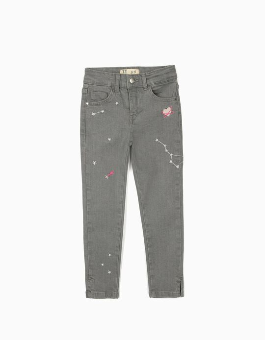 Denim Trousers for Girls, 'Space', Grey