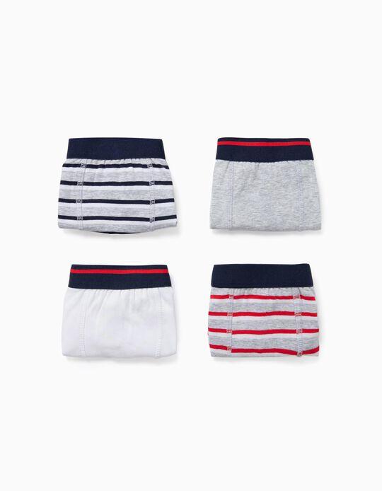 4 Boxers Garçon 'Stripes', Multicolore