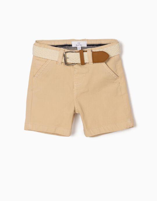 Short avec ceinture bébé garçon, beige