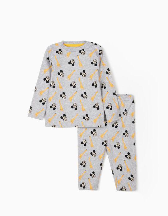 Pyjamas for Baby Boys, 'Mickey & Giraffes', Grey