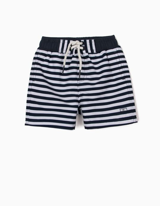 Swim Shorts with UV 80 Protection for Baby Boys, Blue/White