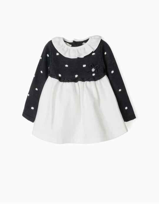 Vestido de Dos Materias para Recién Nacida, Azul Oscuro/Blanco