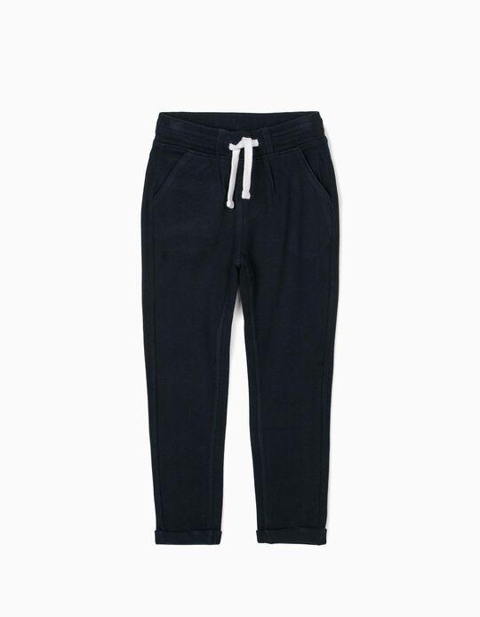 Pantalón de Chándal de Punto Piqué para Niño, Azul Oscuro