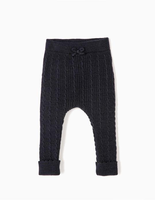 Pantalón de Punto para Recién Nacida, Azul Oscuro