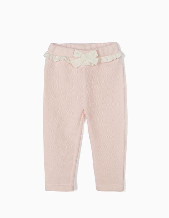 Pantalón de Chándal con Lacito para Bebé Niña, Rosa