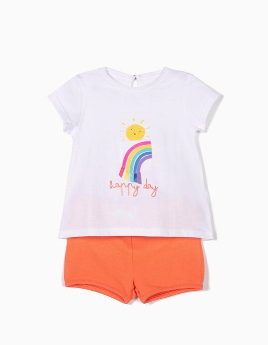 T-shirt e Calções para Bebé Menina 'Happy Days', Branco e Laranja