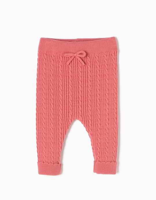 Pantalón de Punto con Lacito Rosa