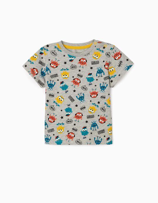 T-shirt para Bebé Menino 'Monsters', Cinza