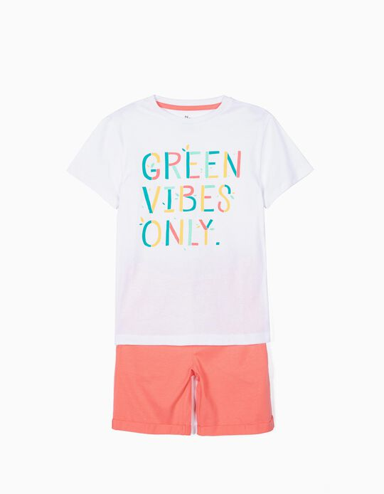 Camiseta y Short para Niño 'Green Vibes Only', Blanco y Coral