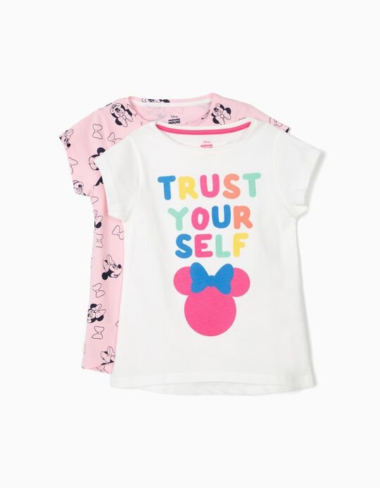2 T-shirts pour Fille 'Minnie Trust Yourself', Blanc et Rose