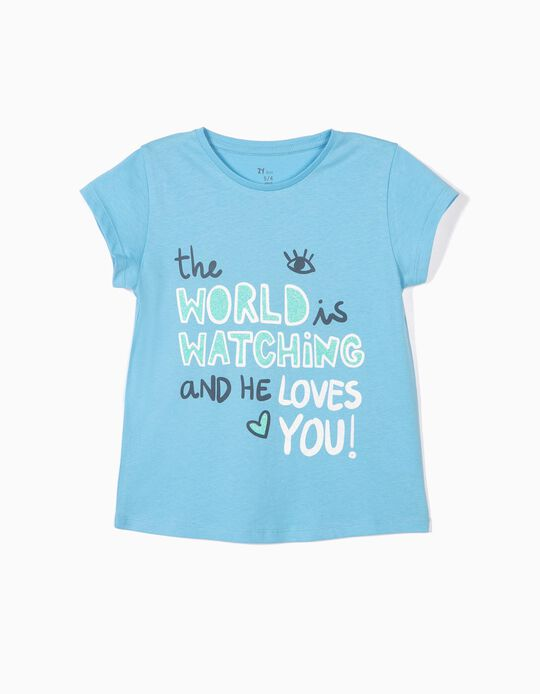 T-shirt Fille 'The World is Watching', Bleu