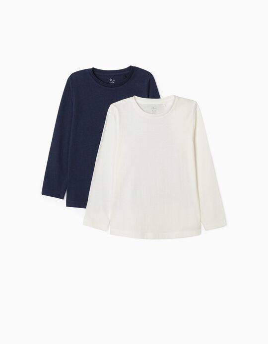 2 Camisetas de Manga Larga para Niña, Blanco/Azul Oscuro