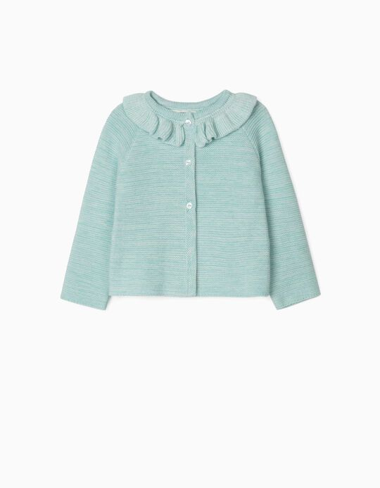 Slub Knit Cardigan for Newborn Baby Girls, Light Blue