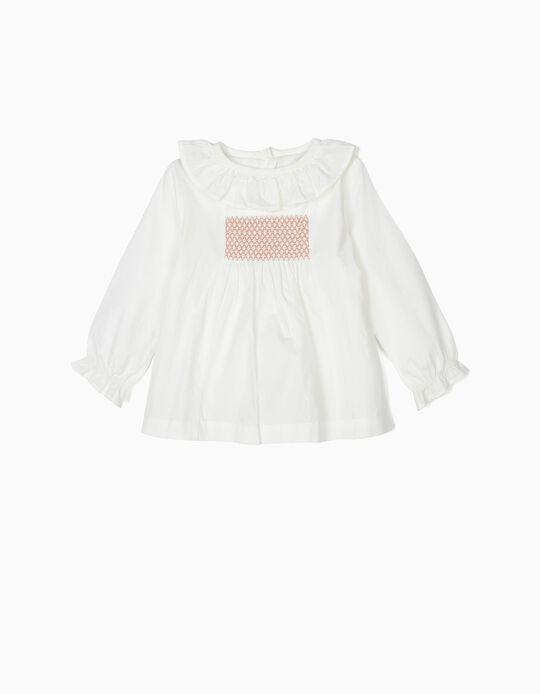 Blusa e Calções para Bebé Menina, Branco e Rosa